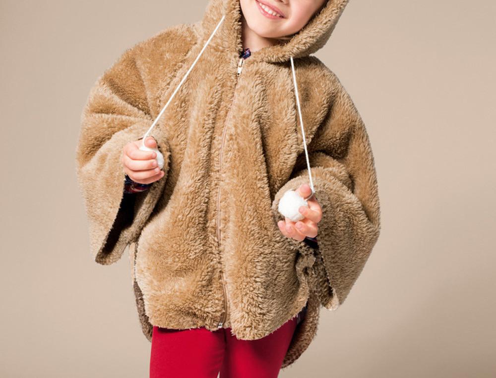 Poncho enfant polaire à capuche Ma tribu