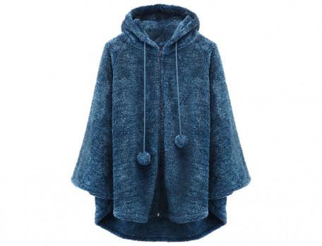 Fleece-Poncho Kapuze Morgenblau Linvosges