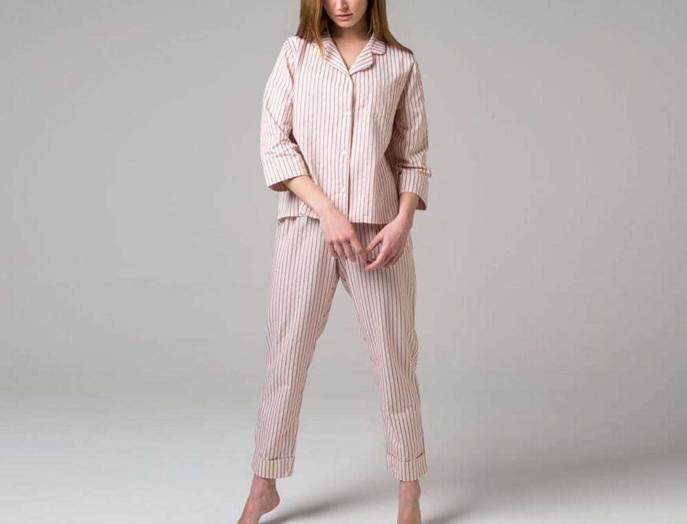 Pyjama jacquard tissé-teint À la ligne