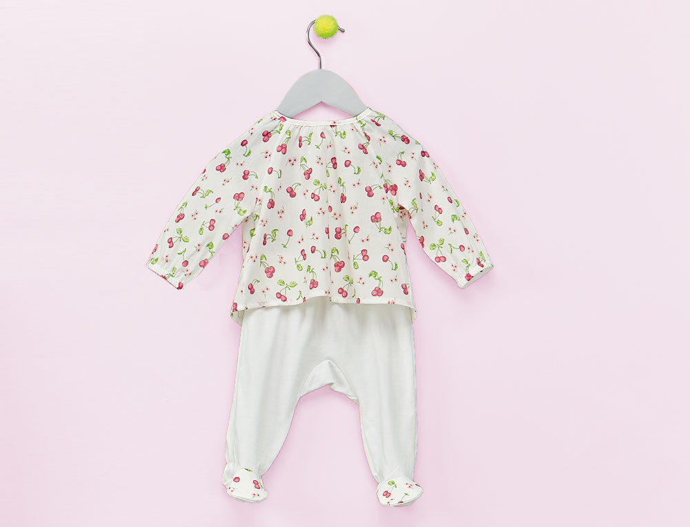 Ensemble bébé imprimé et jersey uni blanc 100% coton  Petite Cerise