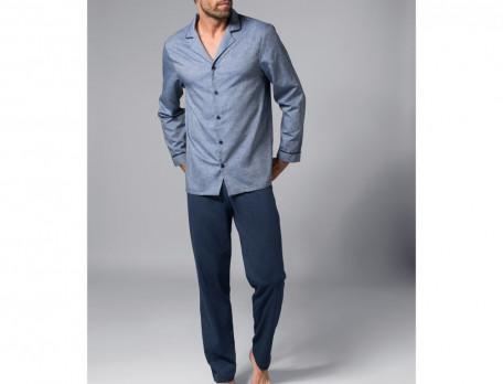 Pyjama Blaue Eleganz Baumwolle Linvosges