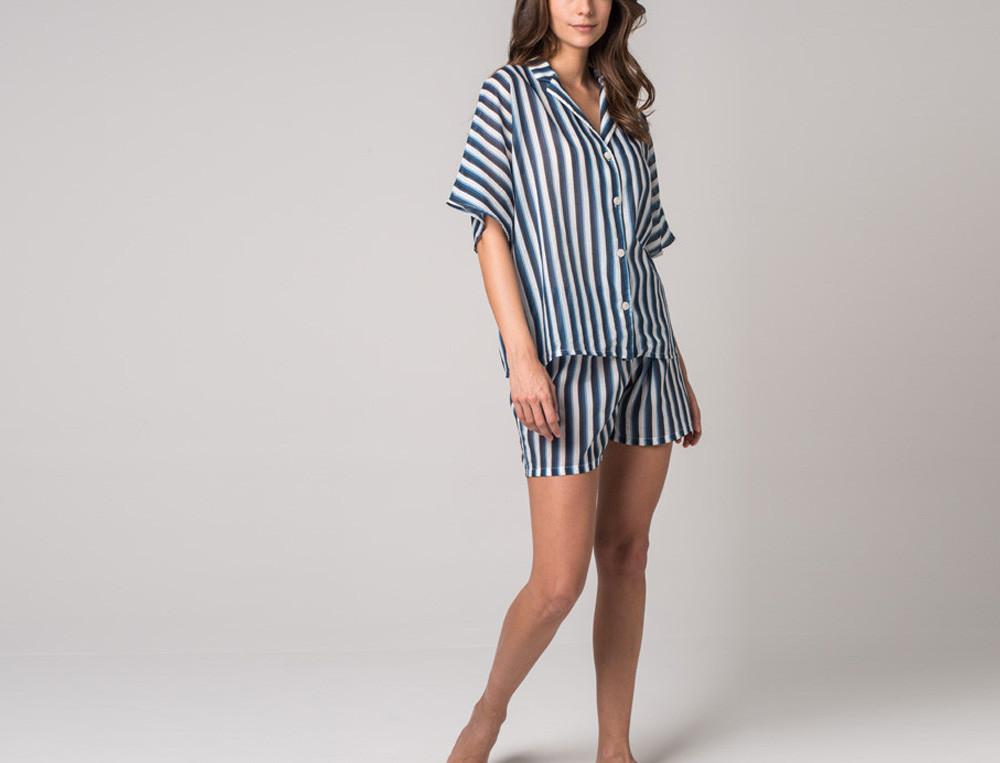 Pyjama short 100% coton rayé Bleu océan
