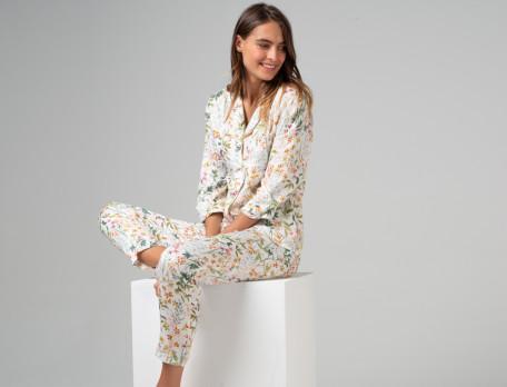 Pyjama Blümchen Viskose Linvosges
