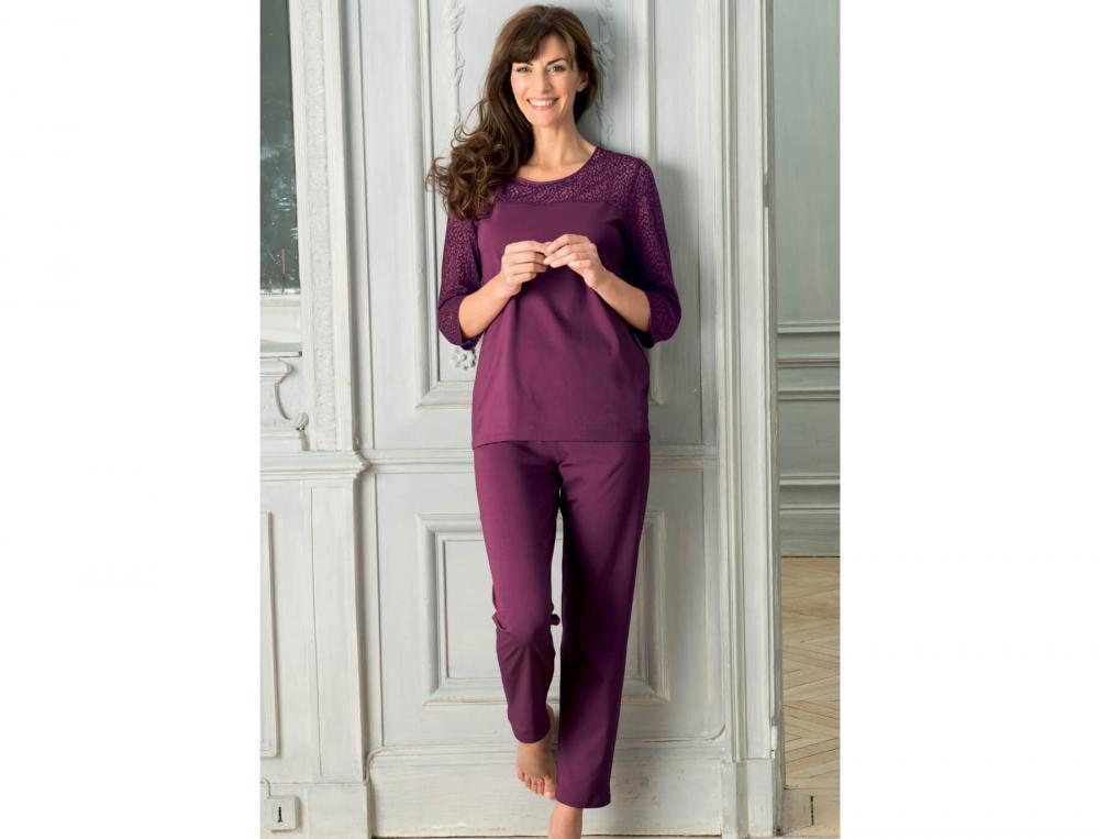Pyjama Bordeaux Baumwolle Linvosges