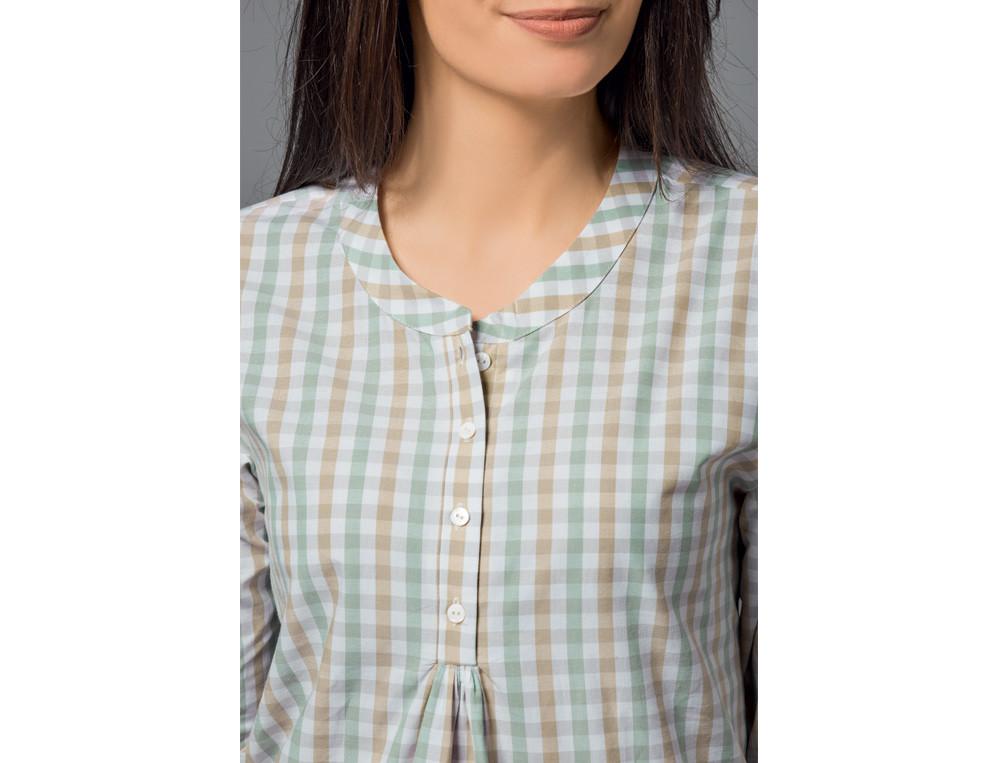 Pyjama court femme carreaux tissé-teint et uni Vert feuillage