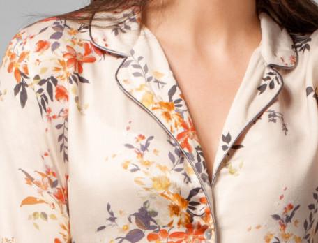 Pyjama femme satin imprimé Délicate