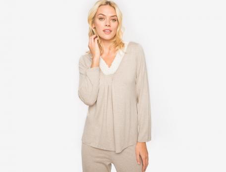Pyjama jersey chiné beige Esquisse du Bengale