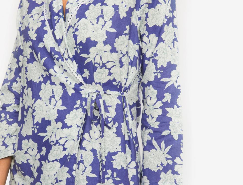 Pyjama et pyjashort imprimés Rêves indigo