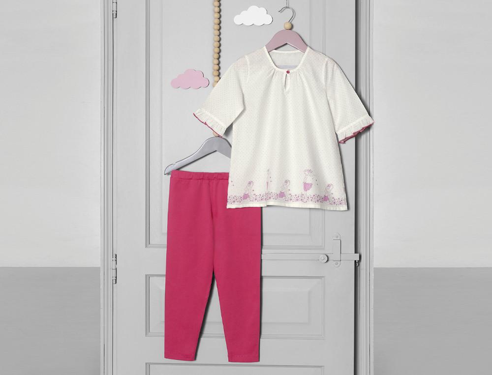 Pyjama et pyjashort enfant fille Balade champêtre