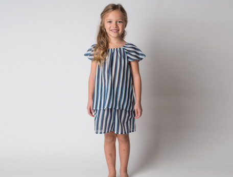 Pyjama short fille en voile de coton Bleu océan