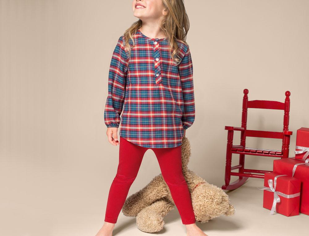 Pyjama fille écossais en haut et jersey rouge en bas Ma tribu
