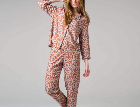 Pyjama imprimé fleuri 100% viscose Fleurs pralines