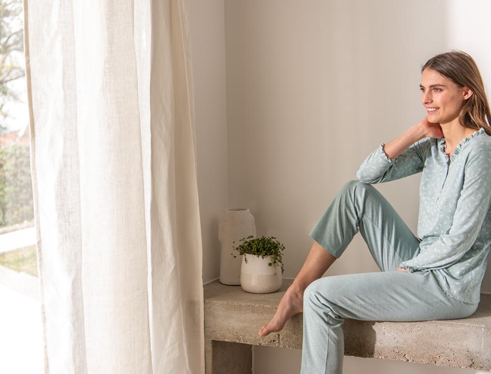 Pyjama femme en coton et modal Forêt des Vosges