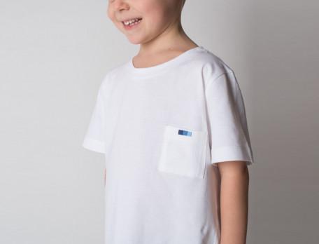 Pyjama short garçon jersey blanc et coton imprimé Bleu océan