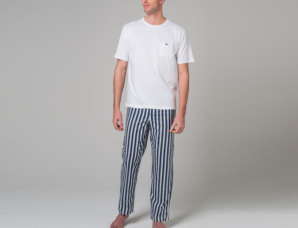 Pyjama homme jersey blanc brodé et coton imprimé rayé Bleu océan