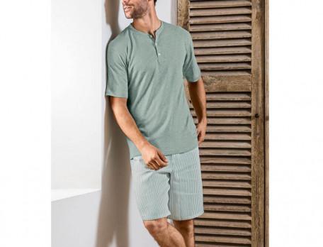 Pyjama et pyjama short imprimé 100% lin homme Ronds dans l'eau