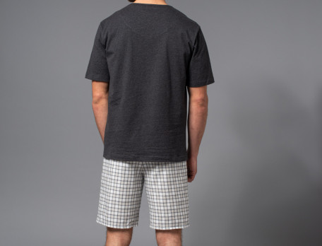 Pyjama et pyjama short homme jersey chiné et tissé-teint En week-end
