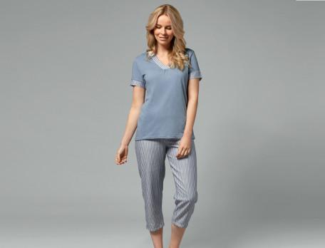 Pyjama ¾-Länge Blauschimmer  Linvosges