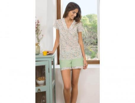 Pyjama - kurz Blumenlese Baumwolle Linvosges