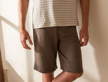 Herrenpyjama kurz braun meliert Familienbande
