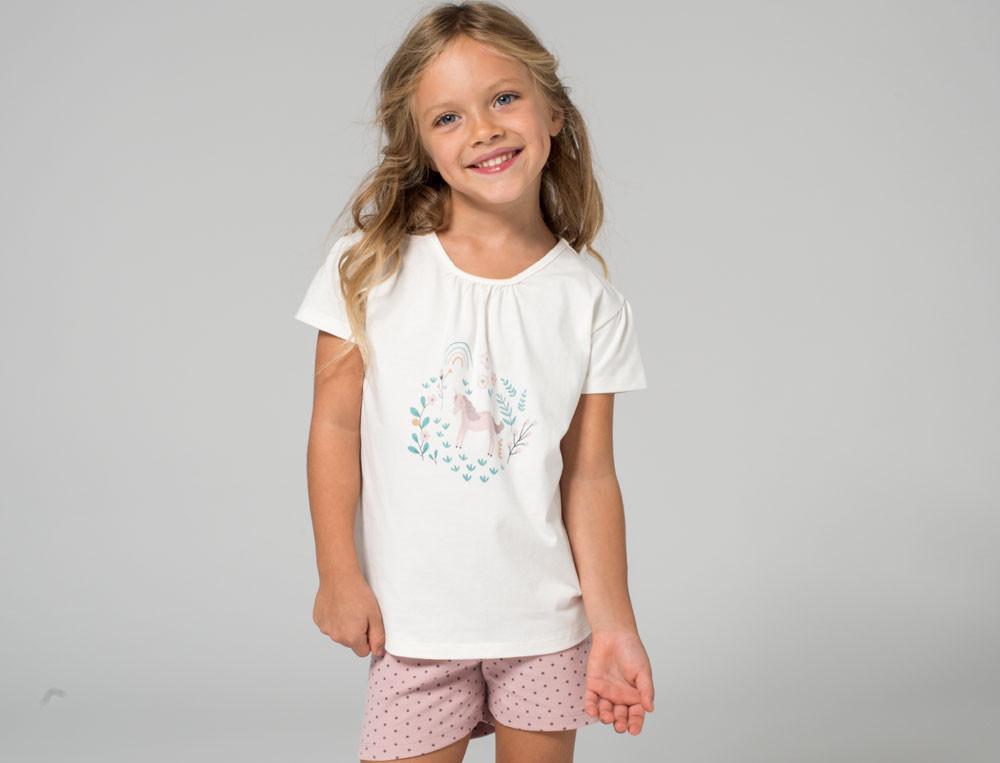 Pyjama-kurz Kleines Einhorn Baumwolle Linvosges