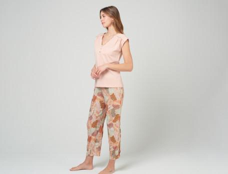 Damenpyjama kurz hellrosa Jersey Pflanzenmotiv Tropicana