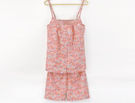 Pyjama short 100% voile de coton imprimé multicolor Les Baux de Provence