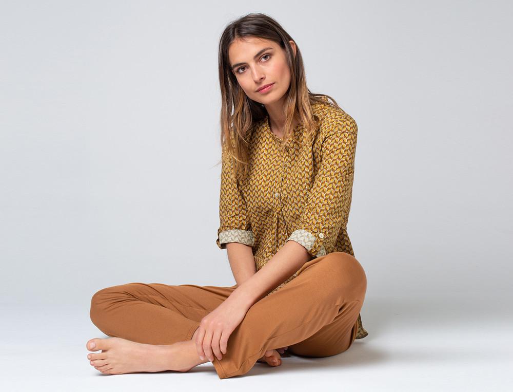 Pyjama femme 100% coton imprimé et uni noisette Les rêveurs