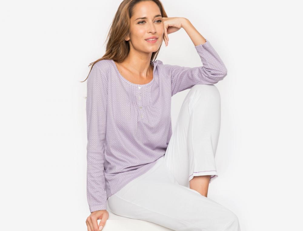Pyjama femme Lilas blanc