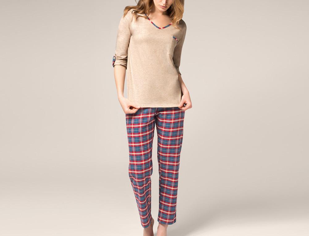 Pyjama femme en coton écossais et beige Ma tribu