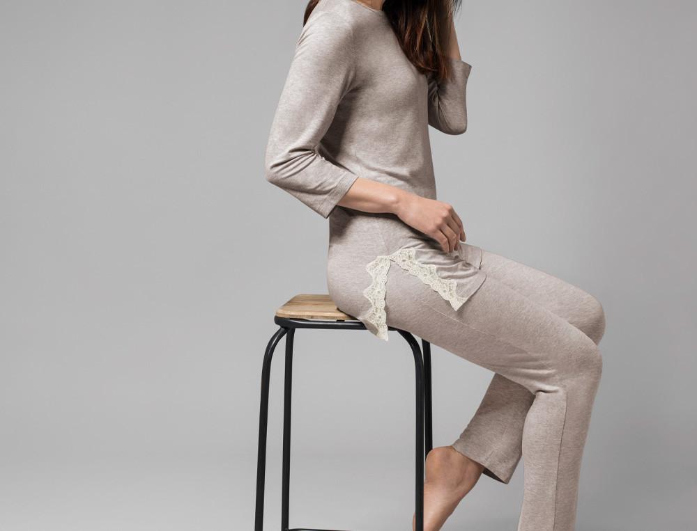 Pyjama femme jersey gris finition dentelle Palais des sables