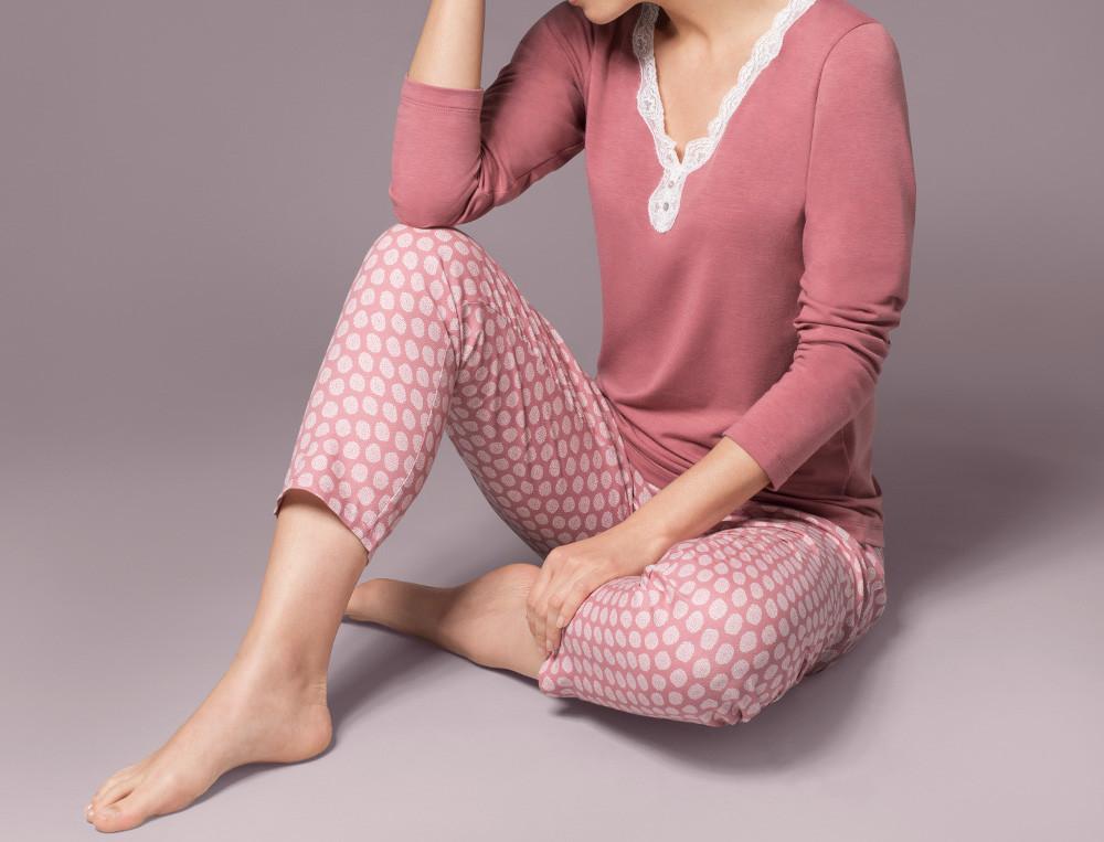 Pyjama haut uni finition dentelle bas imprimé Pétillante
