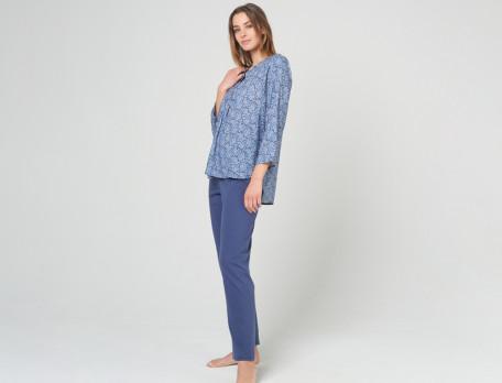 Damenpyjama Blau Pflanzenmotiv Pfaueninsel