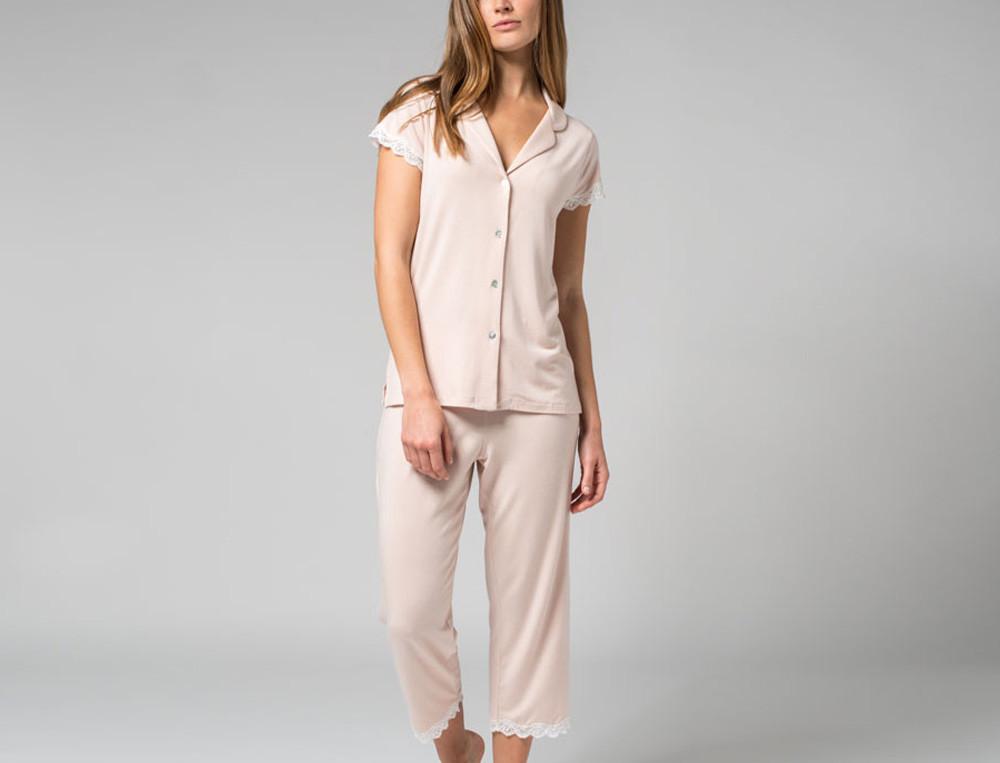Pyjama court en modal et coton finition dentelle Poudre de rose