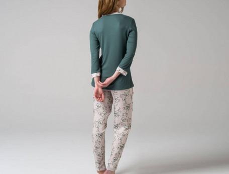 Pyjama imprimé fleur et uni émeraude Précieuse