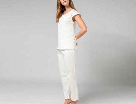 Pyjama 100% coton jersey ivoire Rose trémière