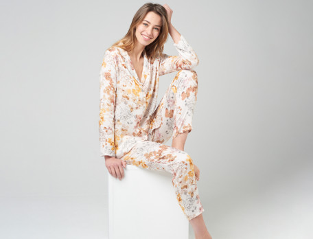 Damenpyjama Blumenmotiv Schilfgras