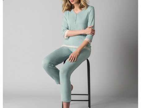 Pyjama turquoise chiné Secret d'orient