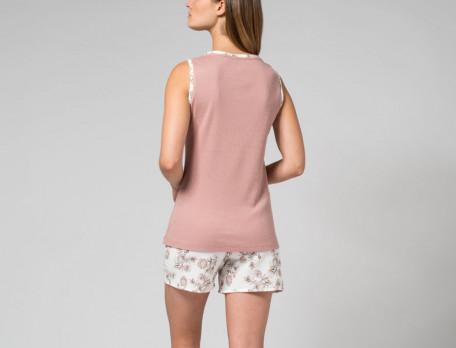 Pyjama short 100% coton haut uni et bas imprimé Douce saison