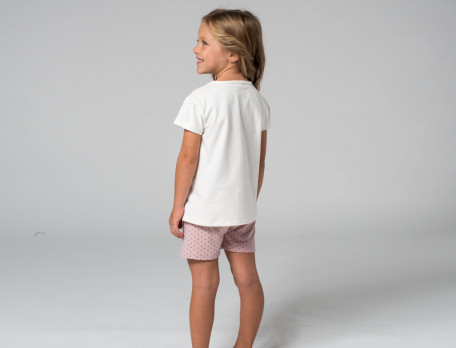 Pyjama short enfant haut écru imprimé et short rose imprimé Au pays des licornes