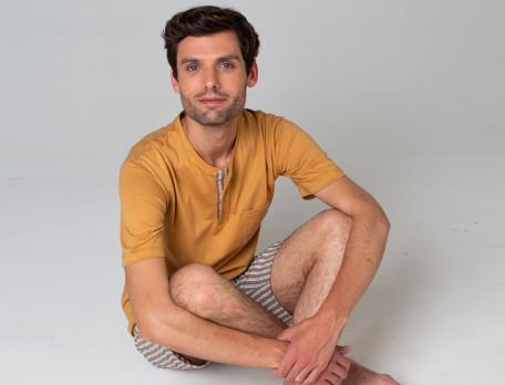 Pyjama short homme rayé tissé-teint Les rêveurs
