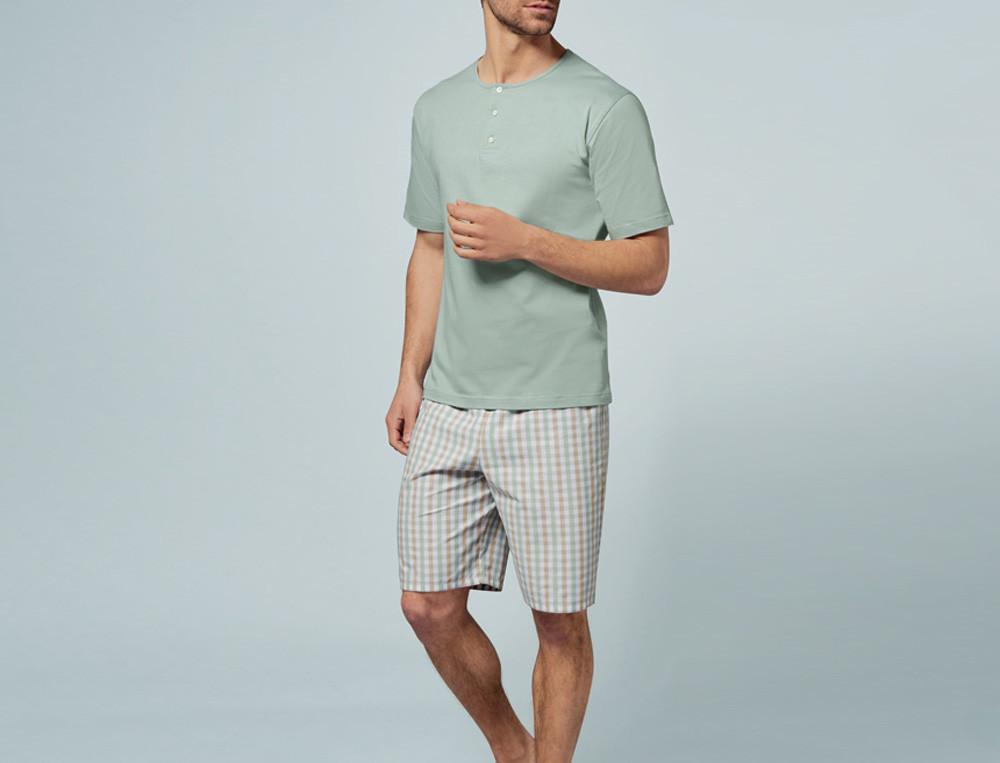 Pyjama short homme écossais tissé-teint et jersey uni Vert feuillage