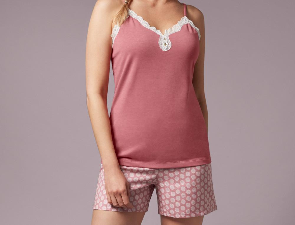 Pyjama short haut uni finition dentelle bas imprimé Pétillante