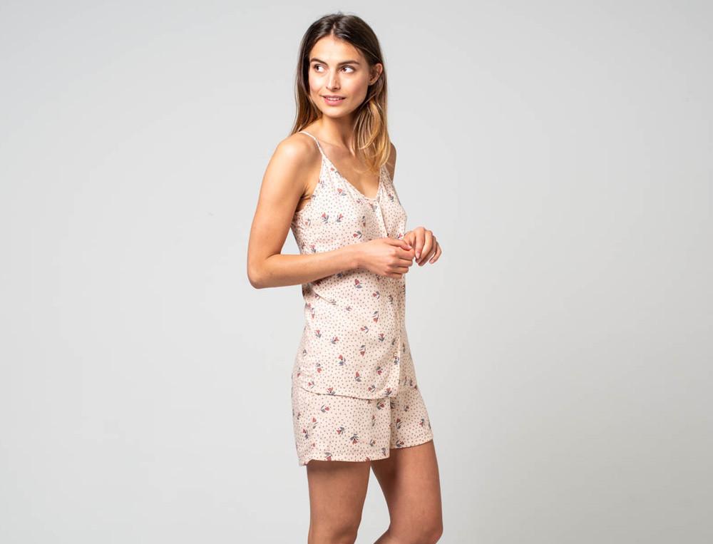 Pyjama short femme imprimé fleuri 100% viscose Sous le vent