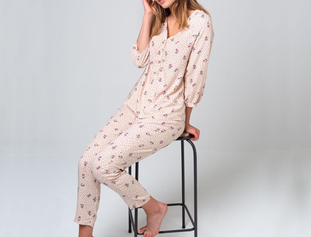 Pyjama imprimé fleur viscose Sous le vent