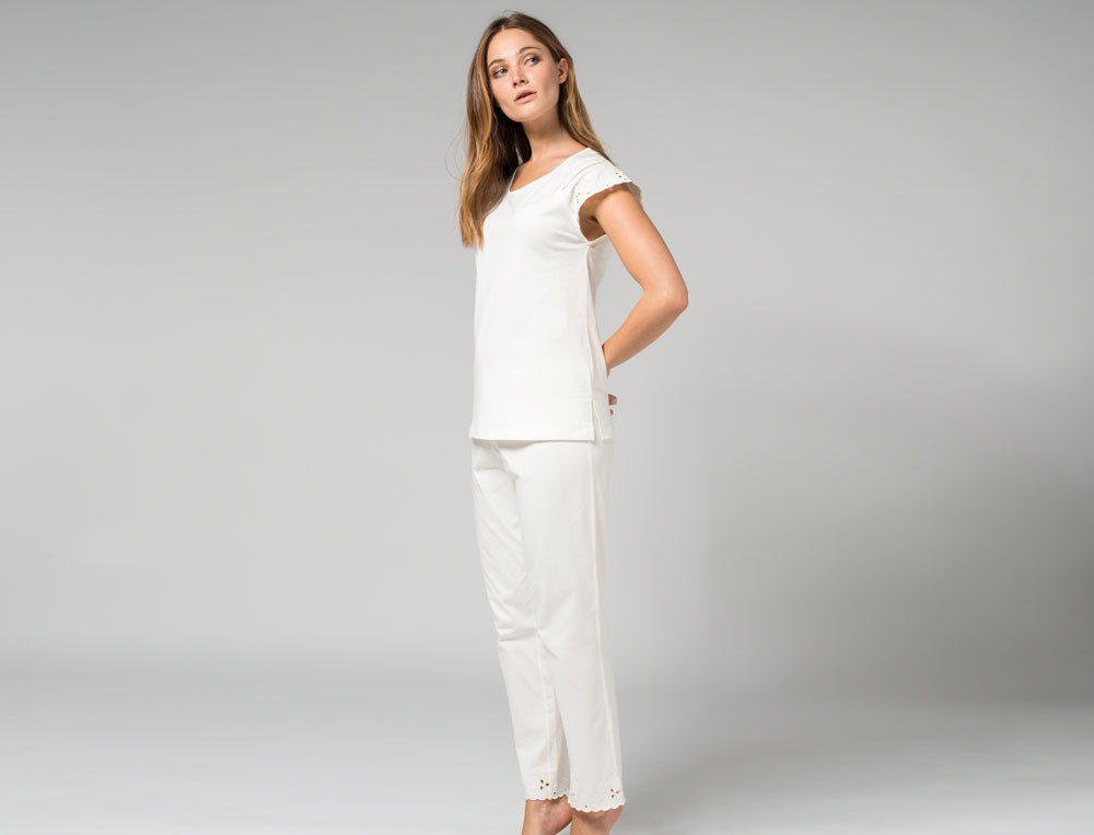 Pyjama Stockrose Baumwolle Linvosges