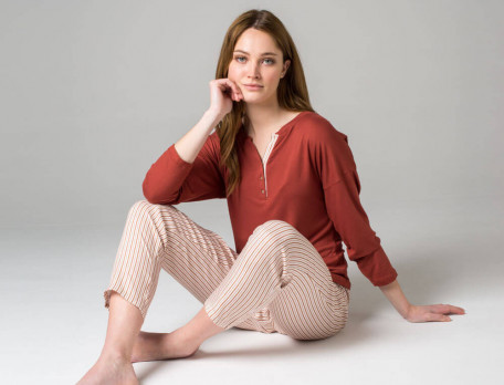 Pyjama imprimé rayé et jersey  praline 100% viscose Tiramisu