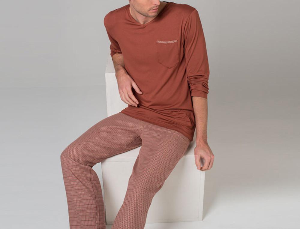 Pyjama homme carreaux tissé-teint et jersey praline 100% coton Toronto