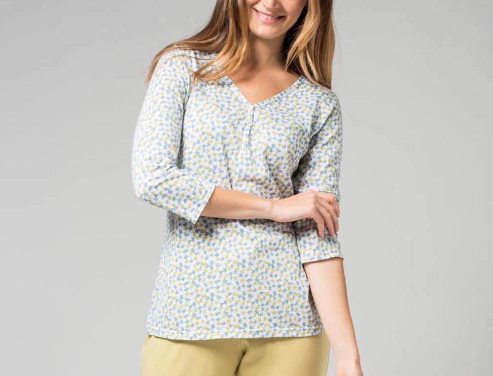 Pyjama jersey imprimé et maille unie Tourmaline