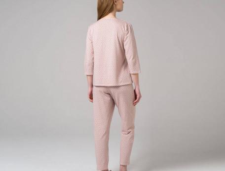 Pyjama rose imprimé à pois 3 petits points